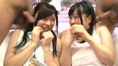 Публичный трах азиатских девушек за стеклом